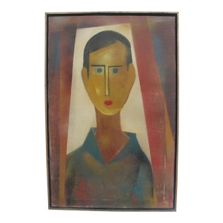 Vintage Signed Abstract Portrait Painting