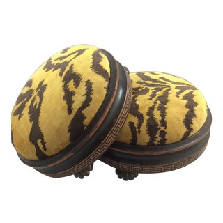 Scalamandre Le Tigre Covered Victorian Footstools - A Pair
