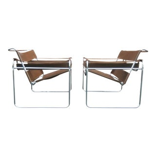Modern Brown Leather Wassily Chairs - A Pair
