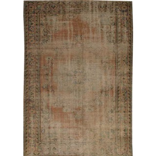 Vintage Rug Hand Knotted Turkish Beige Wool Pile Area Rug - 5'x 7'