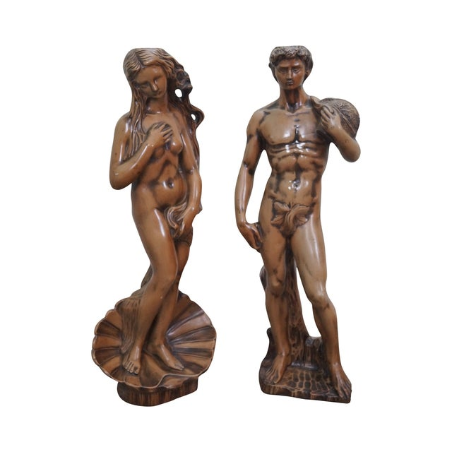 Carved Composition Adam/David Eve/Venus Pedestals - Image 1 of 10