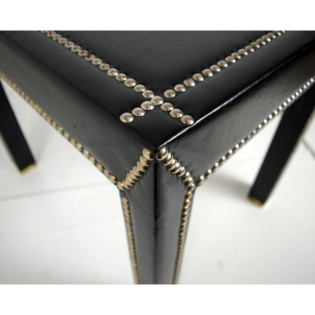 Italian Black Leather Studded End Tables - A Pair - Image 5 of 10
