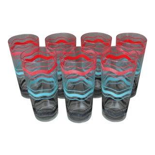 Vintage Red Blue Black Band Tumbler Glasses - S/7