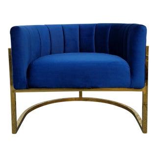 Brass Bar Velvet Club Chair