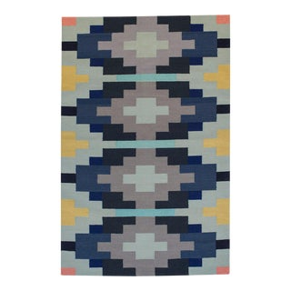 Flat Woven Dhurrie Geometric Navajo Style Rug - 4' x 6'