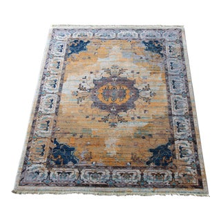Transitional Yellow & Blue Rug - 5′3″ × 7′7″