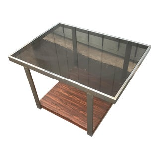 Mid Century Modern Rosewood Smoked Glass Side Table