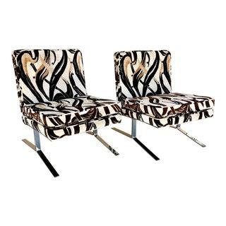 1970s Velvet Fabric & Split Chrome Base Lounge Chairs - A Pair