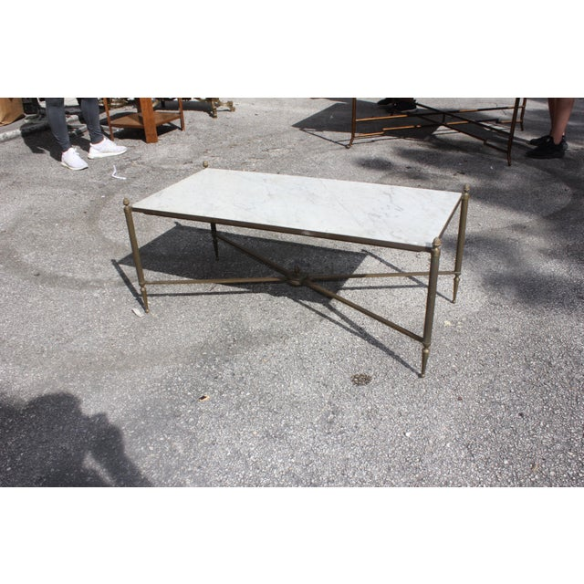 Long Maison Jansen Coffee Or Cocktail Table Bronze Rectangular With Marble Top Circa 1940s - Image 3 of 11