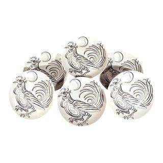 Piero Fornasetti Porcelain Uccelli Calligrafici Bird Plates - Set of 6