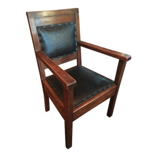 Antique Mission Leather on Oak Chair