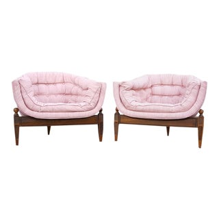 Adrian Pearsall Style Tufted Pink Three Legged Lounge Tub Chairs - a Pair