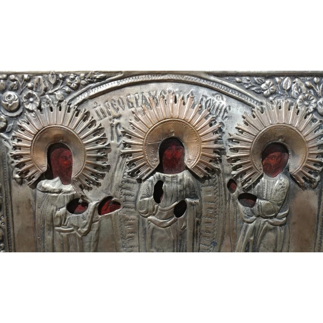 Antique Silver Plated Russian Icon - Image 3 of 8