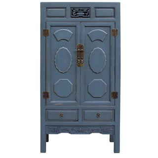 Chinese Distressed Gray Blue Lacquer Storage Cabinet
