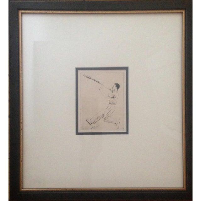 1930's Tennis Etchings Helen Moody Wills - A Pair - Image 2 of 6
