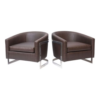 "Pair of Milo Baughman Polished Chrome and ""Ostrich"" Upholstered Chairs"