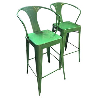 Contemporary Kelly Green Metal Barstools - a Pair