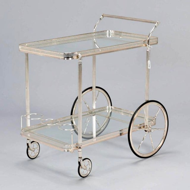 Mid-Century Nickel Plated Bar Cart or Drink Trolley - Image 2 of 8