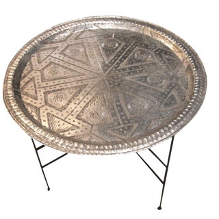 Moroccan Silver Tray Table