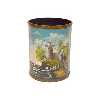 Vintage Hand-Painted Lighthouse Cachepot
