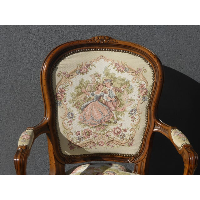 Vintage French Provincial Accent Arm Chairs - Pair - Image 6 of 11