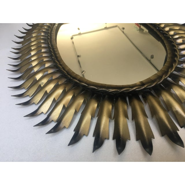 Spanish Gilt Metal Oval Sunburst Mirror - Image 3 of 3
