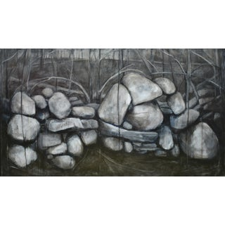 Stephen Remick Large Painting of a Stone Wall