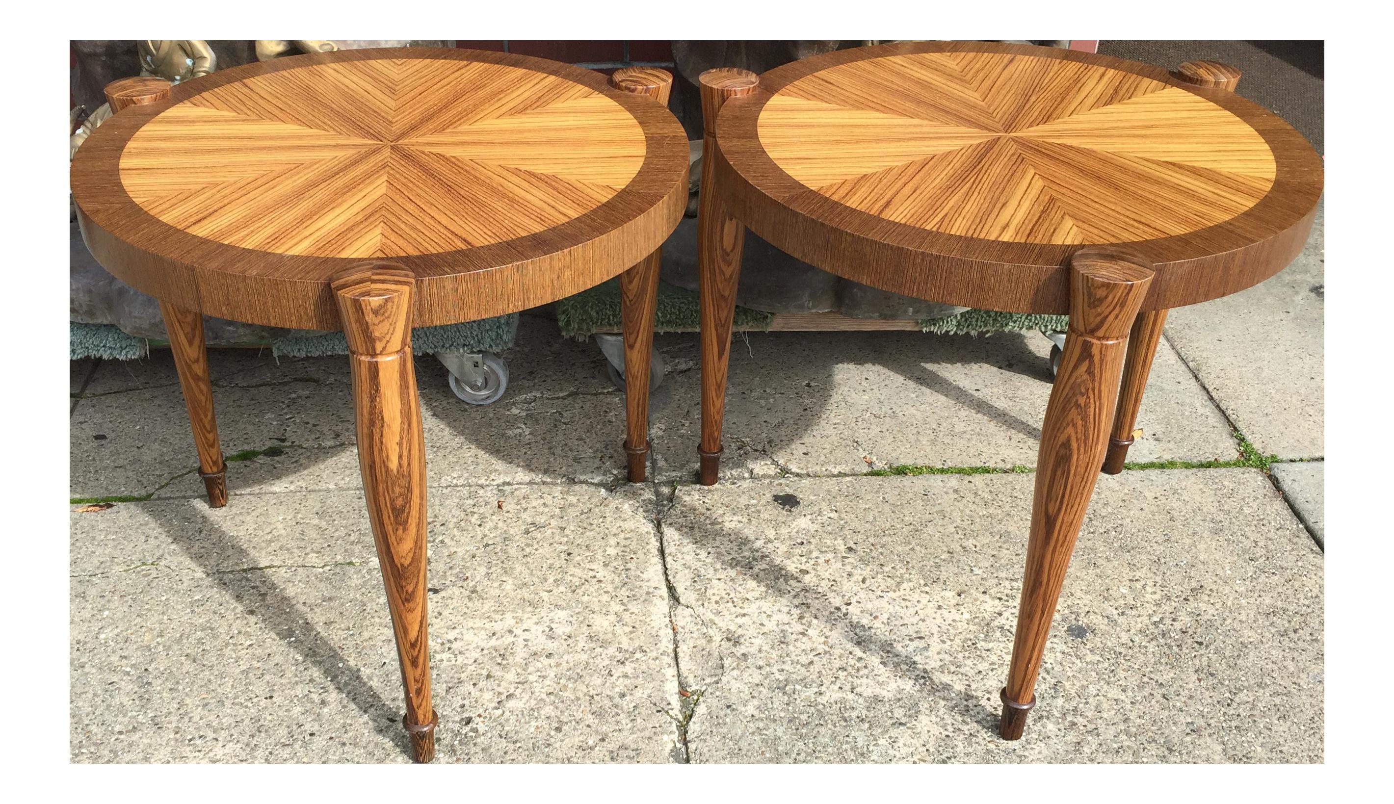Art Deco Zebra Wood End Tables   A Pair