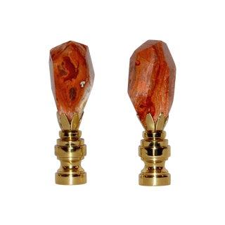 Fire Opal Finials - Pair