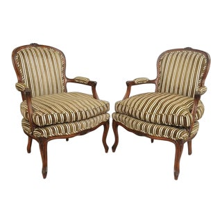 Vintage French Country Louis XV Style Carved Wood Arm Chairs - a Pair