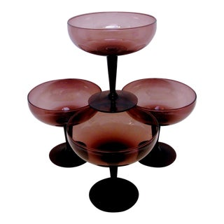 Violet Glass Coupes - Set of 4
