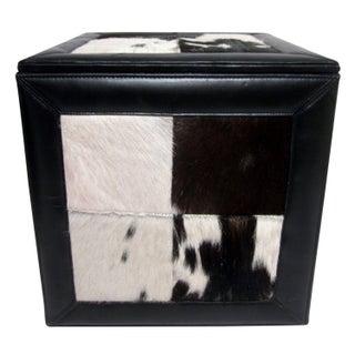 Cowhide Fur Storage Cube Ottoman