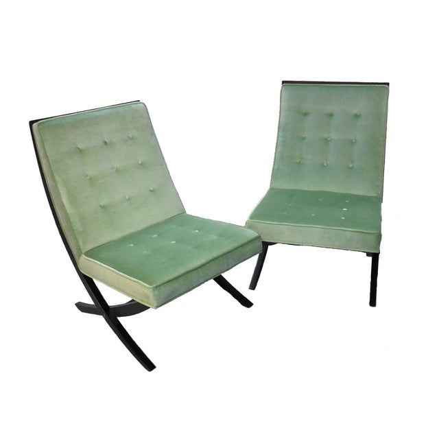 Image of Green Lounge Chairs by Directional - Pair
