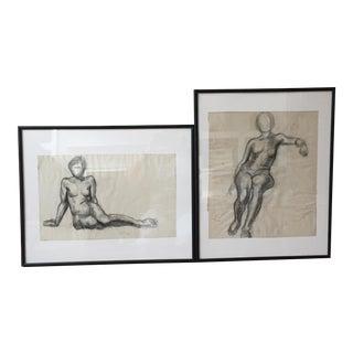 Vintage Charcoal Nudes - A Pair