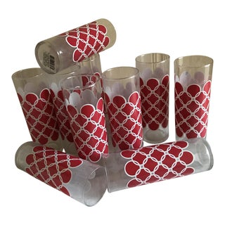 Vintage Red & White Pattern Glasses - Set of 11