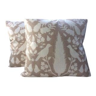 Schumacher Chenonceau Pillows in Fawn Tan & Cream Linen - a Pair