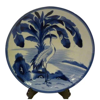 Imari Charger Blue White Crane Banana Tree Meiji Period