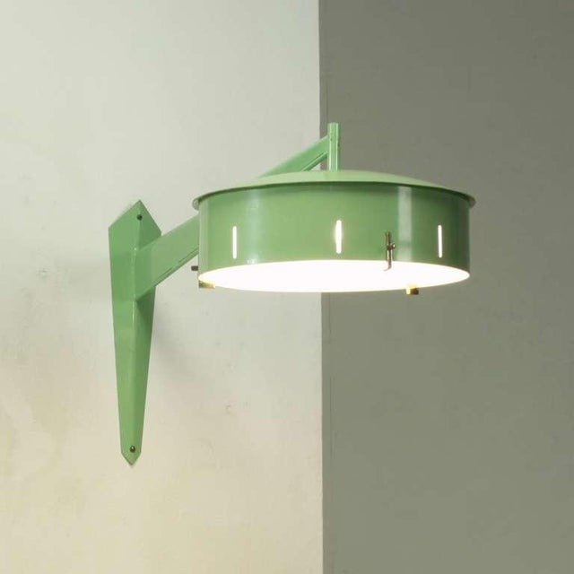 Image of Italian 1950s Stilnovo Wall Applique In Pale Green Metal