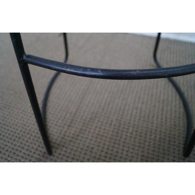 Mid Century Modern Iron Frame Bar Stools - Pair - Image 9 of 10