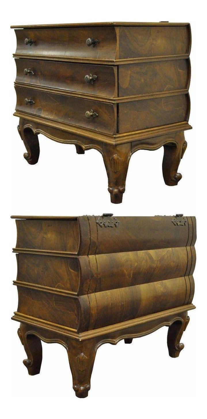 vintage italian patchwork burl olive wood book form side table chest
