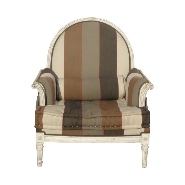 French Provincial Striped Upholstery Arm Chair - Image 1 of 11