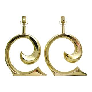 Restored Pierre Cardin Mid-Century Modern Solid Brass Logo Designer Lamps - a Pair Millennial