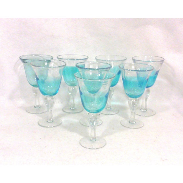 Image of Blue Ombre Hand Blown Goblets - Set of Eight
