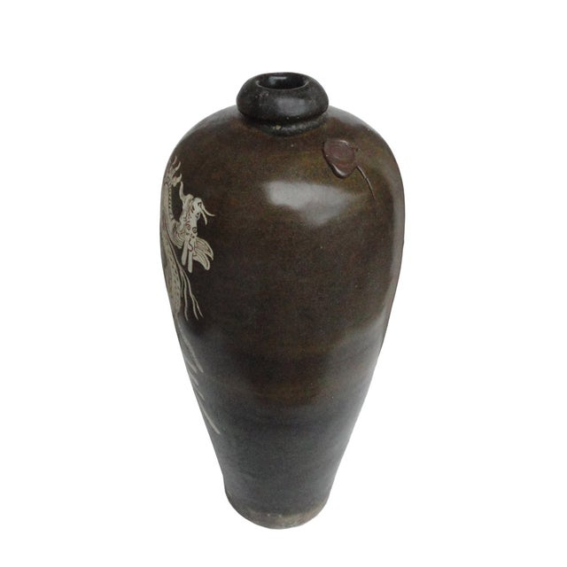 Image of Chinese Brown Porcelain Graphic Vase