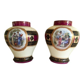 Japanese Moriage Style Maroon Vases - A Pair