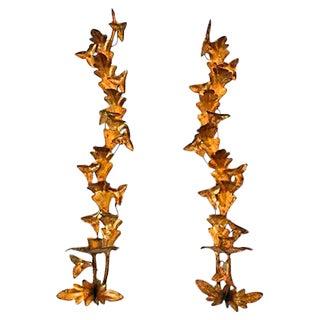 Leaf Tole Sconces - A Pair