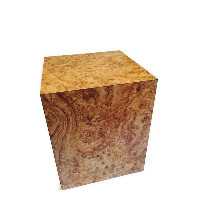Vintage Burlwood Cube Side Table - Image 5 of 6