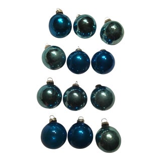 Vintage Blue Shiny Brite Christmas Ornaments - Set 12 With Box