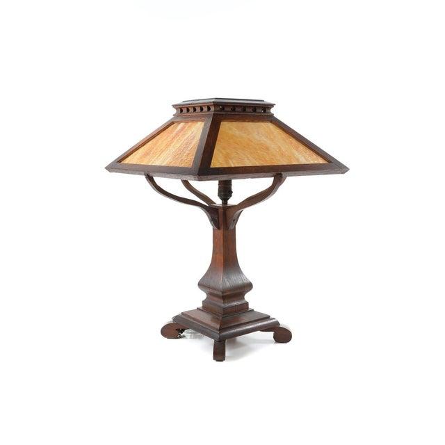 Image of Arts & Crafts Original Mission Oak Table Lamp