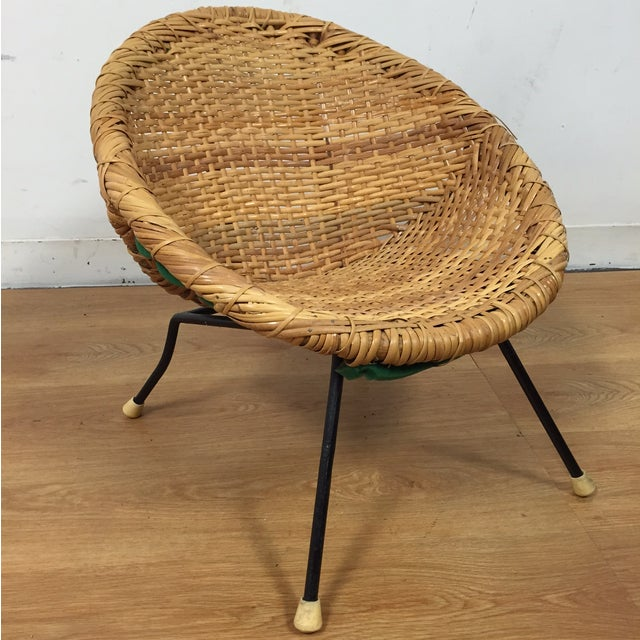 Wicker and Wrought Iron Child's Chair - Image 2 of 11